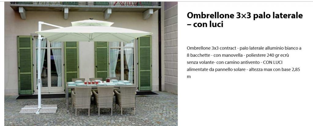 Ombrellone 3x3mt in Alluminio, 8 bacchette, Antivento, luci-led.