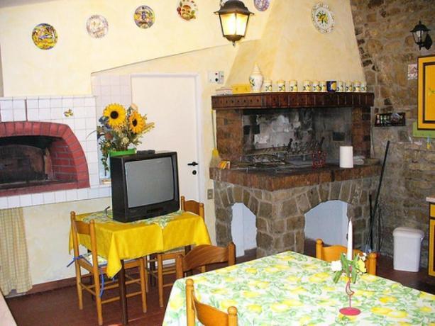 Cucina con Camino, Tv e Forno a Legna