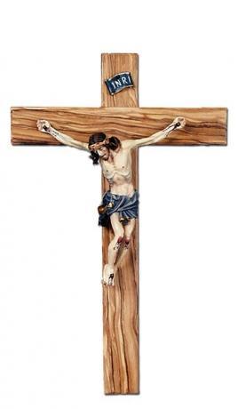 Crocifisso fatto a mano in legno di ulivo, Assisi