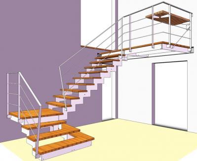 scala prefabbricata ferro e legno
