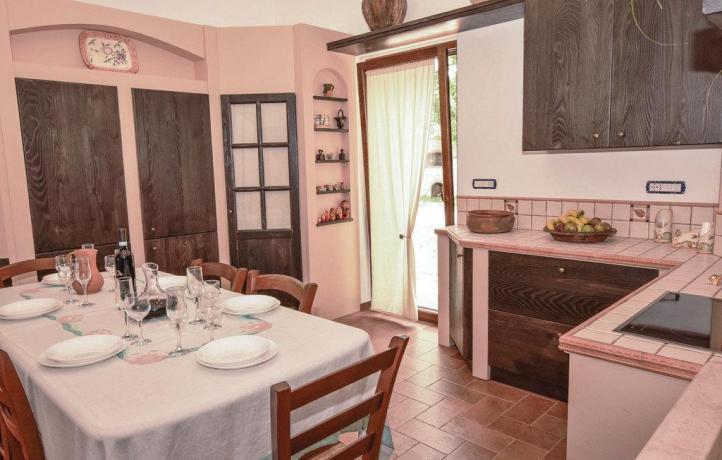 Zona pranzo casa vacanze a San Lupo