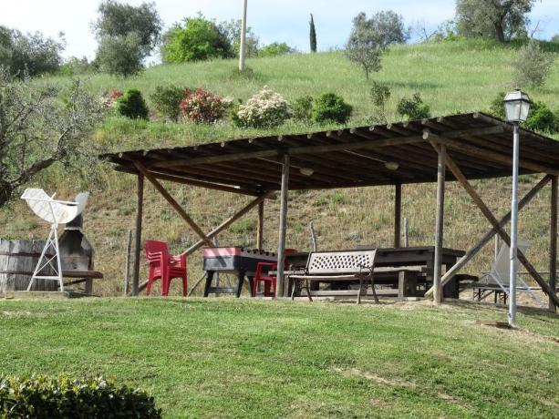 appartamenti con Cortile, barbecue, tavoli e sedie Passignano