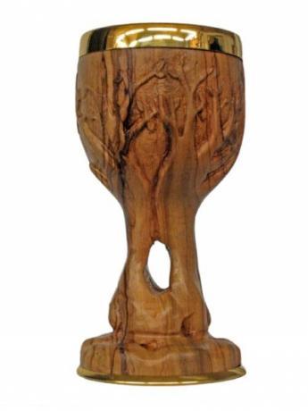Calice artigianale in legno di ulivo scolpito a ma