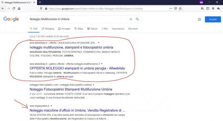 Posizionamento con Garanzia su Google: Noleggio-Multifunzione-Umbria