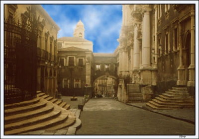 Catania, the street Via Crociferi