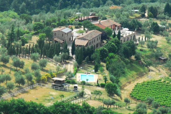 Agriturismo visto dall'alto con piscina vicino Chiusi