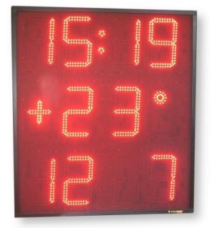 Insegna elettronica quadrata con: Ora, Data, Temperatura