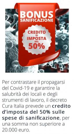 Credito di Imposta 50% per Sanificazione-Bonifica: COVID-19