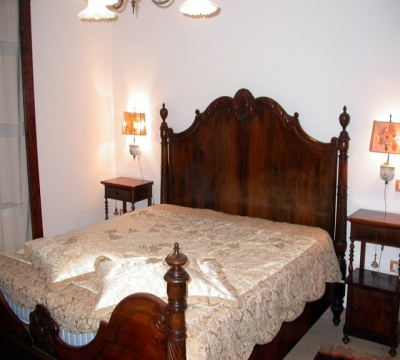 Panoramic view of a double bedroom in the Casolare