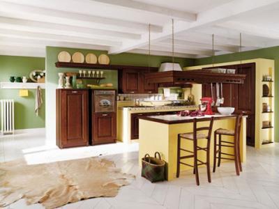 Cucina angolare con penisola in legno massello paesana - Cucine classiche con penisola ...