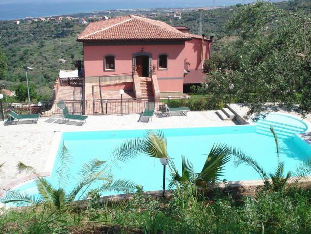 Hotel con piscina vista mare Eolie
