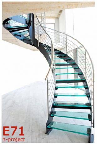 Scala elicoidale prefabbricata acciaio verniciato, vetro, inox