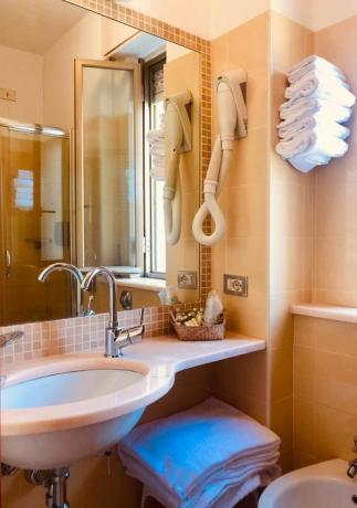 Bagno privato con asciugacapelli e asciugamani