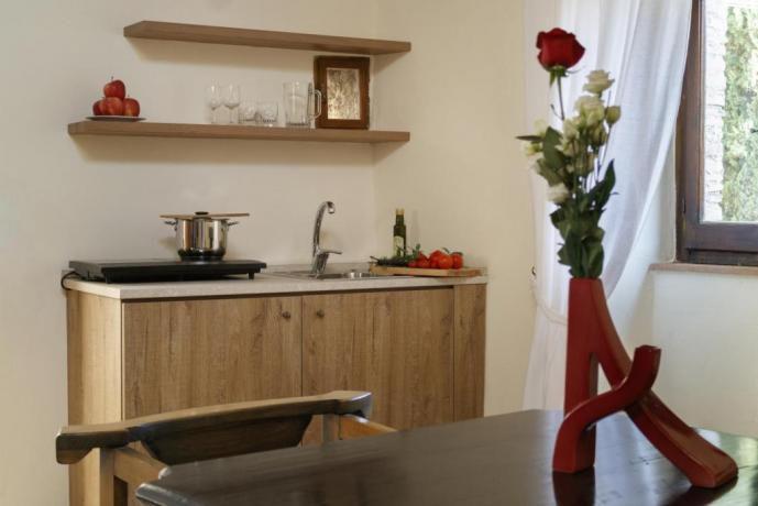 Cucina in Appartamento Le-Viole per 3 persone Borgo-sul-Clitunno