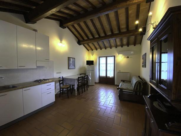 L'Etrusco- Soggiorno con Divano Letto e cucina
