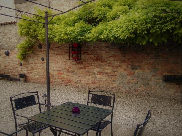 Il giardino esterno dove rilassarsi