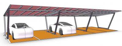 copertura posti auto struttura acciaio e telo pvc