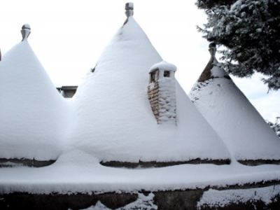 Trulli in the snow