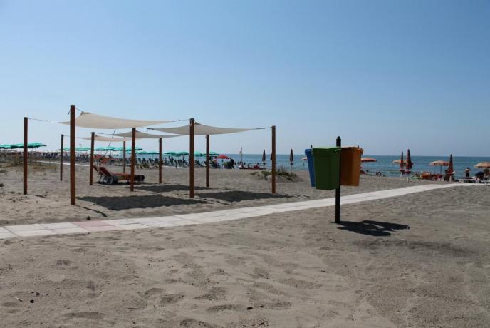 Spiaggia di fronte all'hotel di Minturno