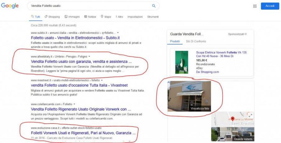 Ottimizzazione SEO Serp Google e Google-Place: Vendita-Folletto-Usato