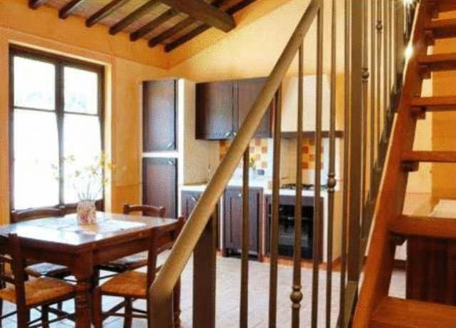 Sala da pranzo camera con tavolo e cucina
