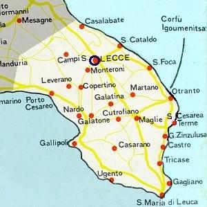 Map over salento hotels b b and holiday residences in the salento area salento lecce apulia italy - Specchia lecce mappa ...