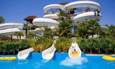 Water-attractions and slides at the Aqualandia Waterpark, Italy