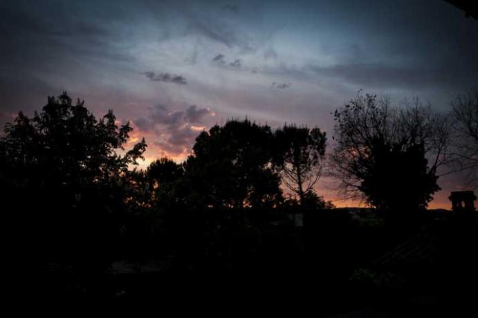 vista del tramonto dal casale