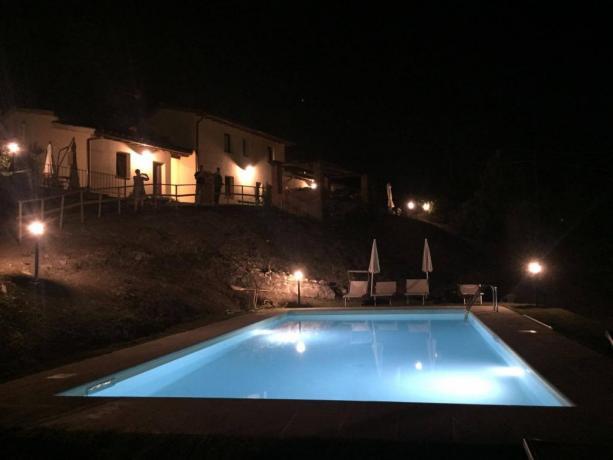 La nostra villa e la piscina in notturna