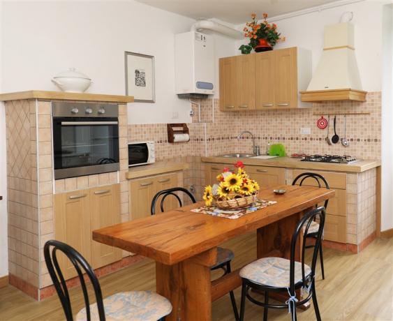 Pini: cucina attrezzata con frigo e forno