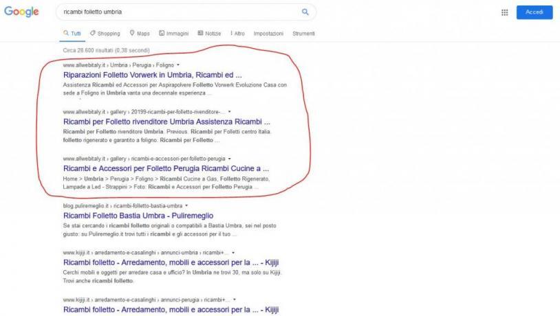 Servizio di Promozione su Google: Ricambi-Folletto-Umbria