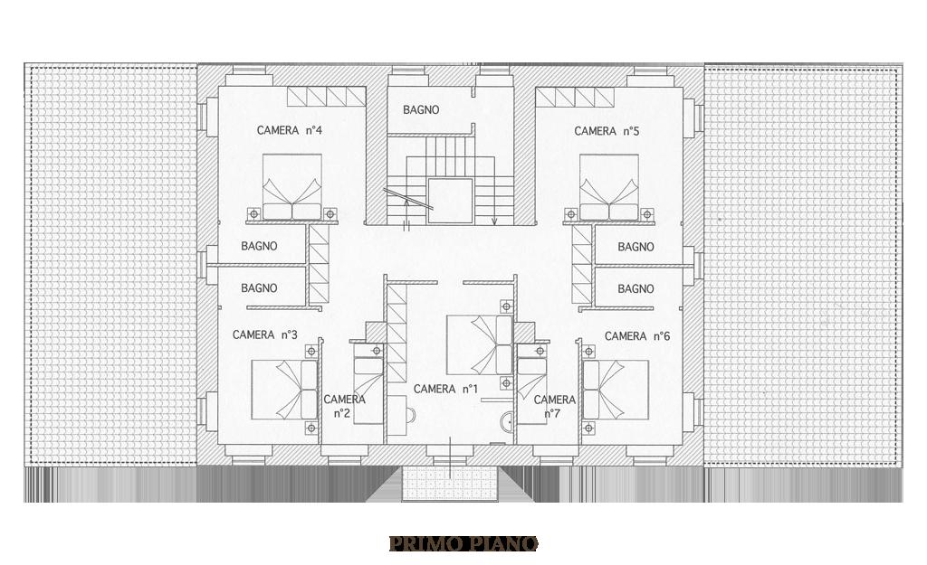 Pianta Piano Primo: Villa 9 camere 10 bagni