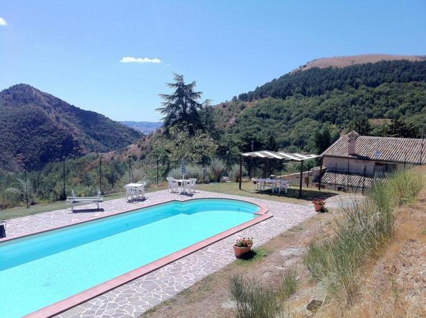 Ampia piscina vista panorama nella natura