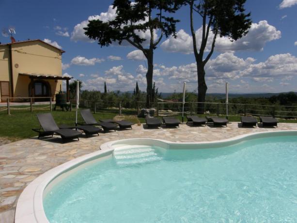 Piscina con vista panoramica sull'arcipelago Toscano