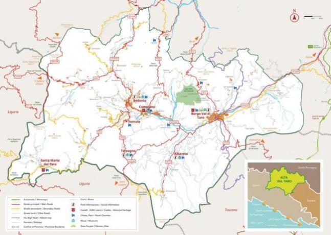 Mappa stradale punti d'interesse turistico della Valtaro