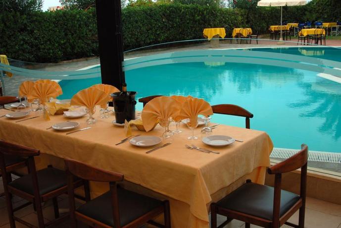 Albergo in Abruzzo, ristorante vista piscina adiacente spiaggia