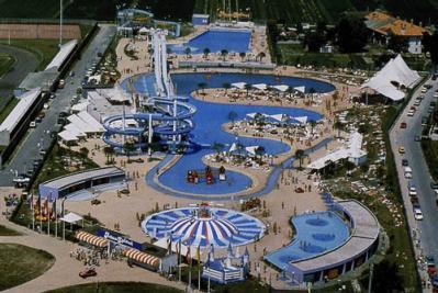 Water Amusementpark Gulliverlandia with aquariums, Lignano Italy