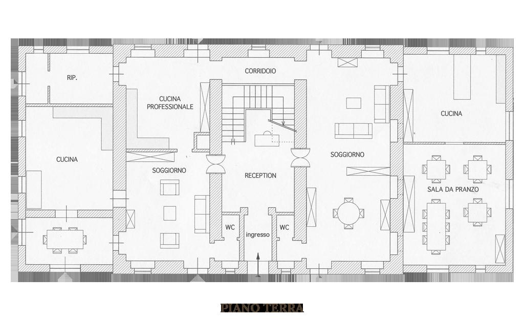 Pianta piano terra: Villa Marche