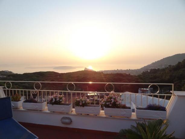Veduta alba terrazza panoramica casa vacanze Barano d'Ischia
