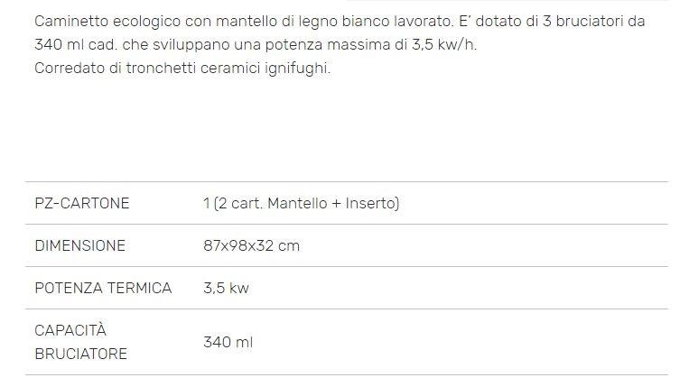 Scheda Tecnica Camino Raffaello Bioetanolo
