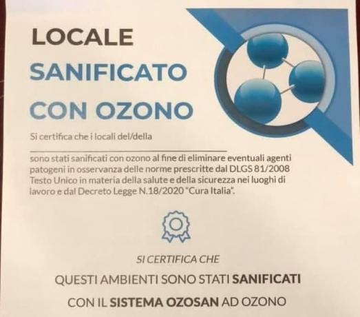 Azienda autorizzata Sanificazione-Ozono: Certificato per Cliente