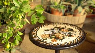 Tavoli da giardino in marmo e ferro battuto musivarius marmi e mosaici realizzati a mano - Tavoli da giardino in ferro battuto ...