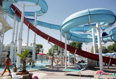 Water-attractions and slides at Beach Village Waterpark, Italy