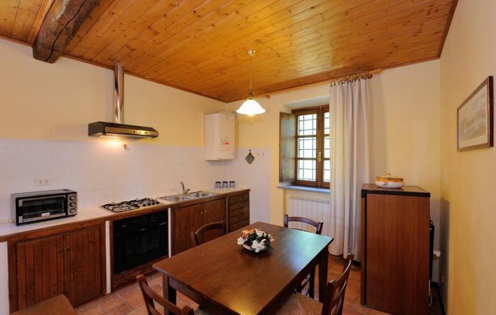 Cucina Appartamenti Olivo, Glicine, Vigneto vicino al Trasimeno