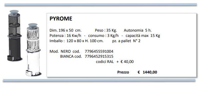 Fungo Riscaldante PYROME 3mt irraggiamento, basso-consumo, 5-ore-durata