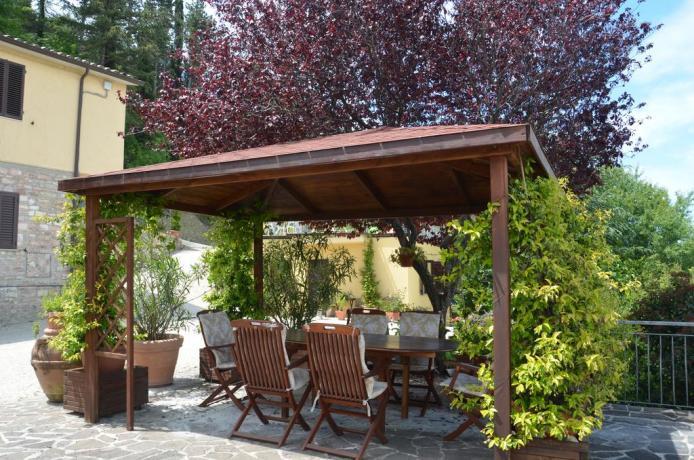 Spazio esteno attrezzato con tavoli e sedie