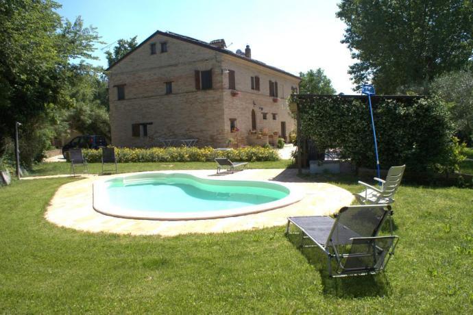 Veduta della piscina dal B&B a Macerata
