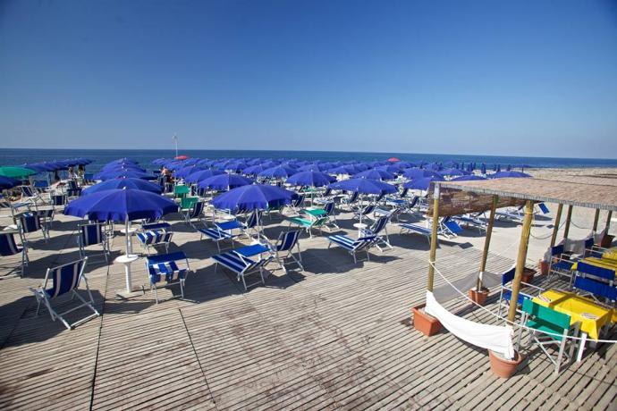 Spiaggia Attrezzata con sdraio Ombrellone ecc.