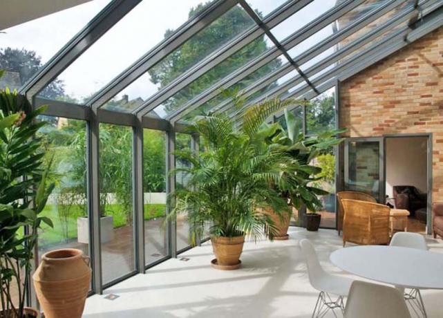 veranda in acciaio e vetro ss4