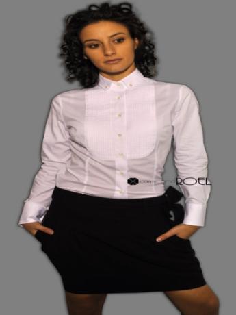 Camicia donna con plissè maniche lunghe modello sl
